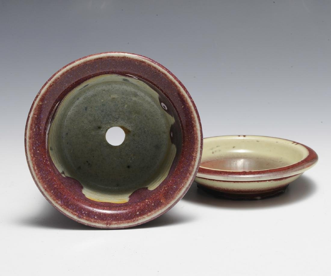 Chinese Small Red Glazed Planter & Tray, 18th - 19th C - 5