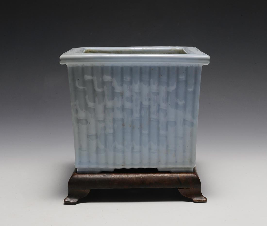 Light Blue Glaze Bamboo Planter w/ Wood Stand, Republic
