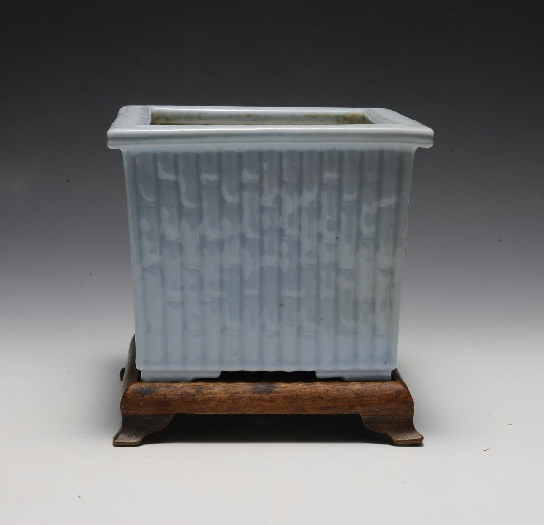 Light Blue Glaze Bamboo Planter w/ Wood Stand, Republic - 2