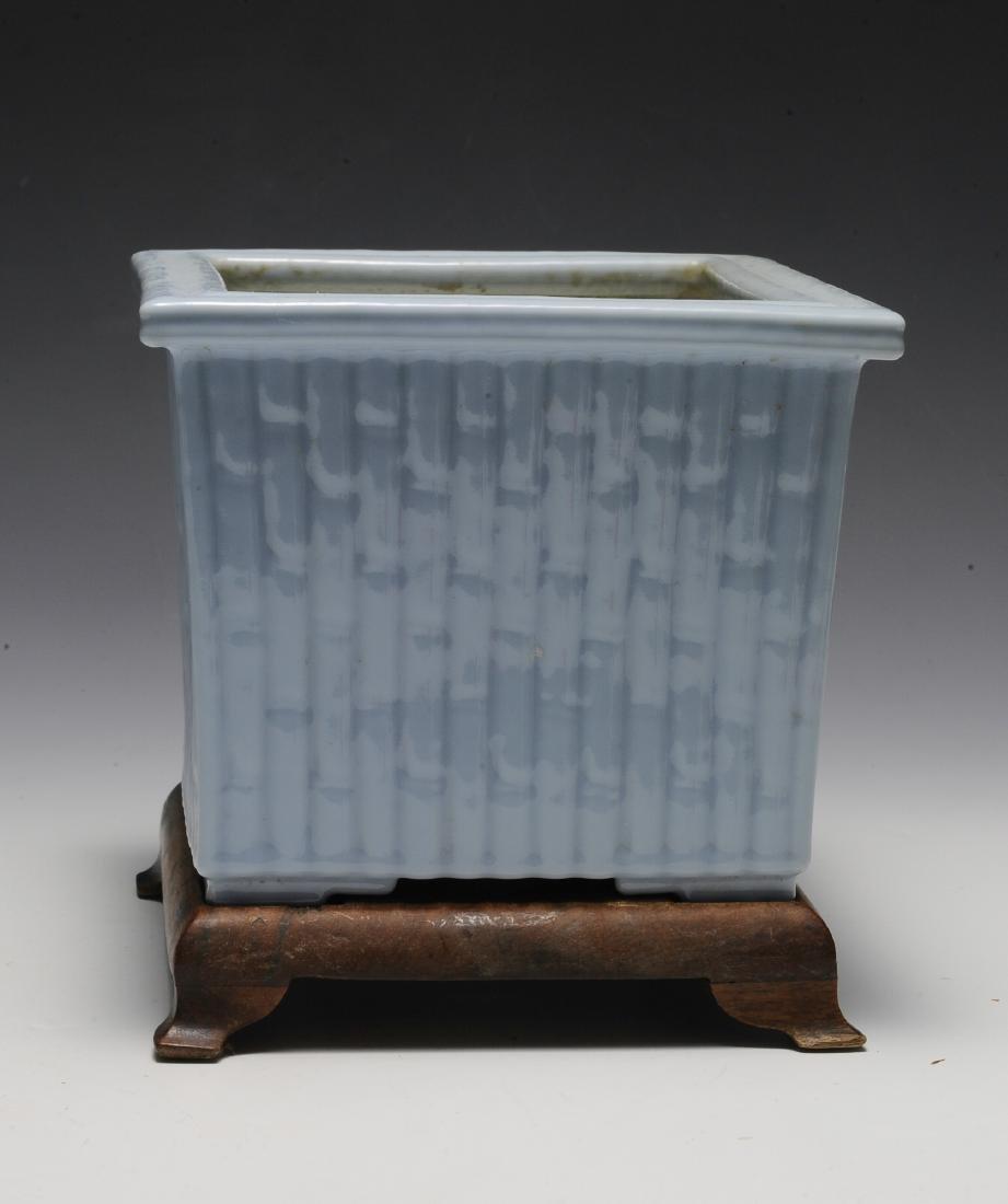 Light Blue Glaze Bamboo Planter w/ Wood Stand, Republic - 3