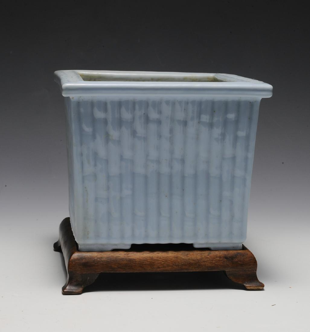 Light Blue Glaze Bamboo Planter w/ Wood Stand, Republic - 4