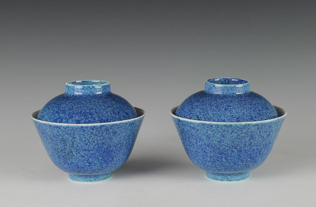 Pair of Chinese Robins Egg Blue Lidded Bowls, 19th C
