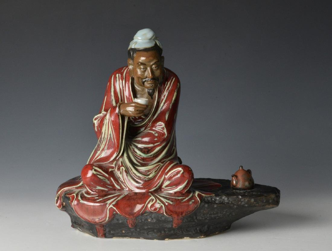 Chinese Shiwan Figure of Scholar w/ Stand, 20th C