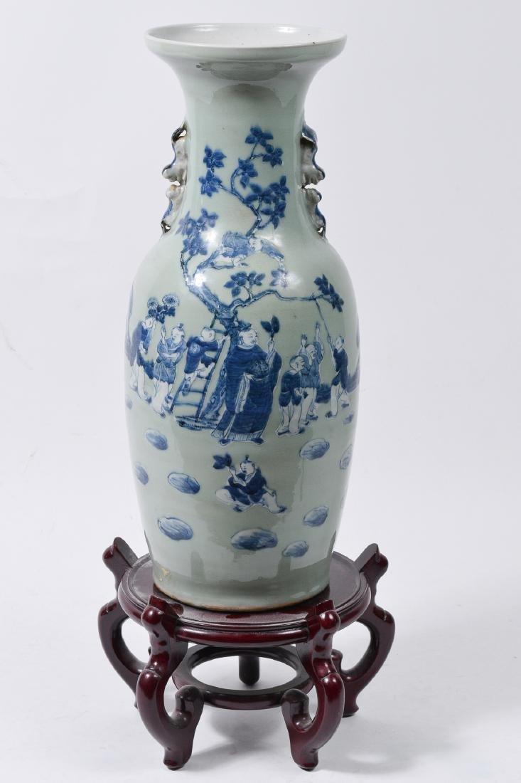 Large Chinese Celadon & Blue Glazed Vase