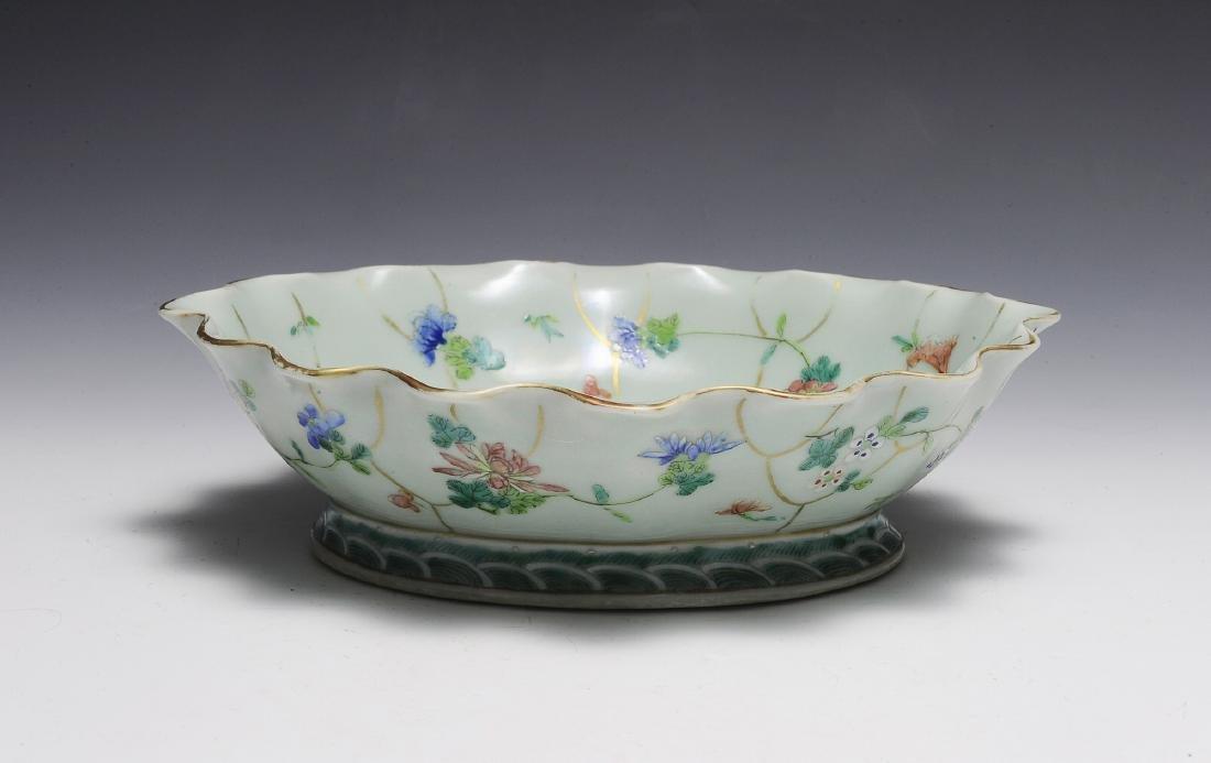 Chinese Celadon Glazed Lotus Bowl, 19th C.