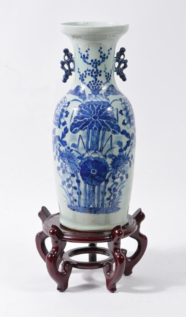 Large Chinese Celadon & Blue Vase w/ Lotuses