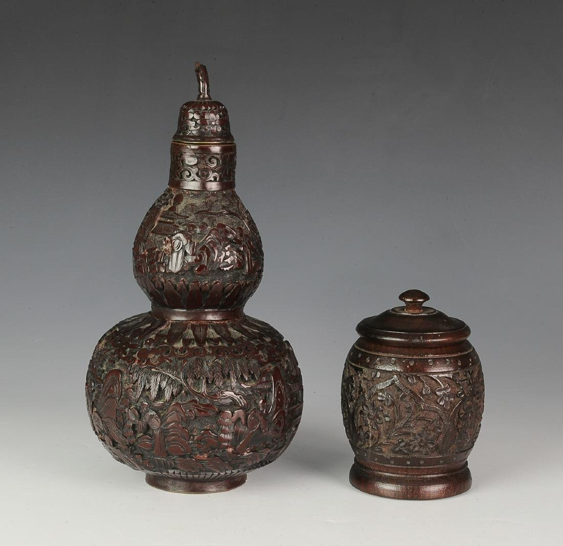 Carved Lidded Gourd & Carved Wooden Box, Early 20th C