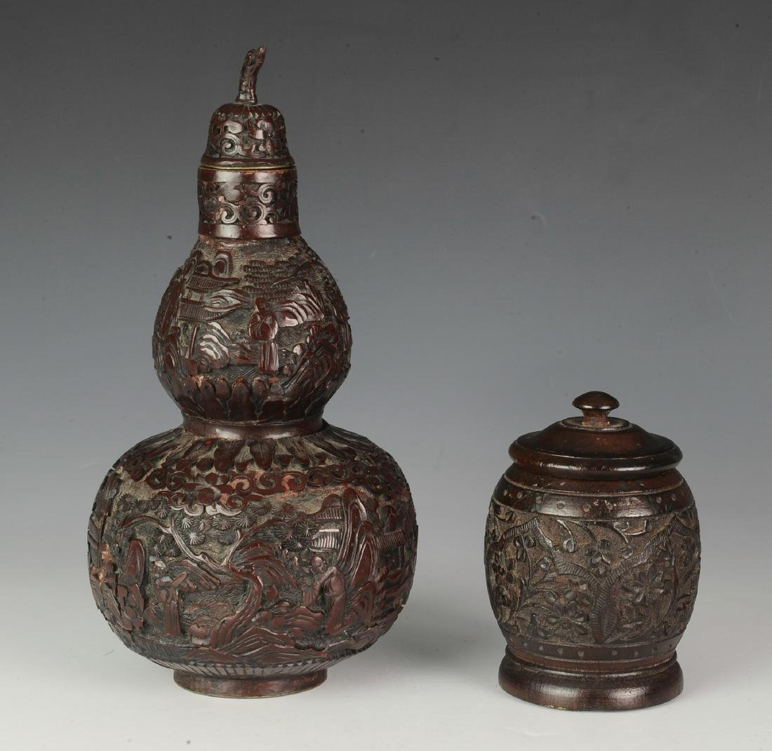Carved Lidded Gourd & Carved Wooden Box, Early 20th C - 3