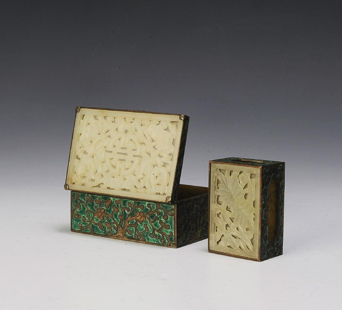 Two Chinese Enameled Boxes w/ Jade Lids