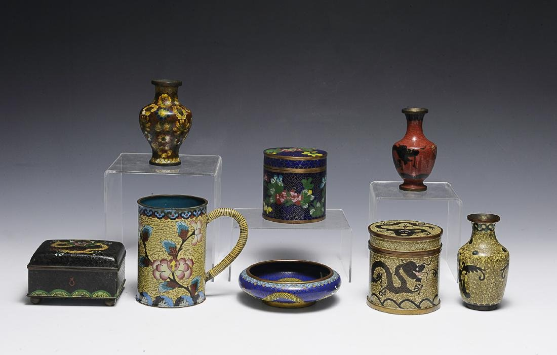 8 Chinese Cloisonne Objects, 19th - Early 20th C