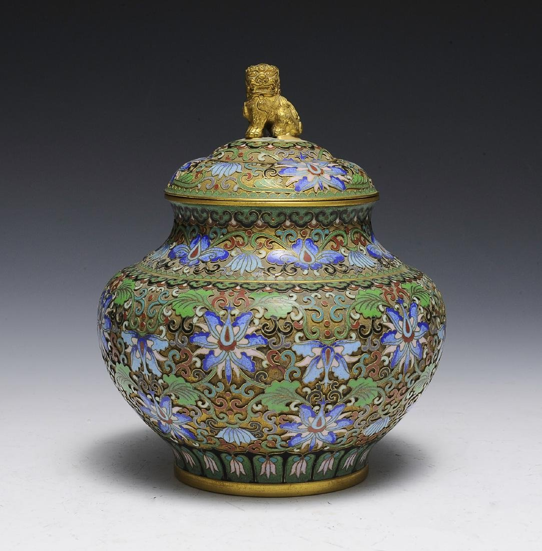 Chinese Cloisonne Jar with Lid, 1950s