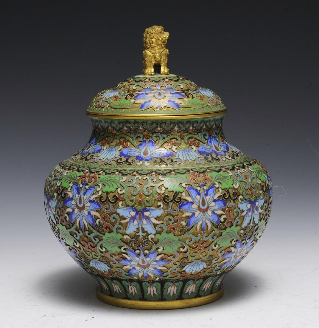 Chinese Cloisonne Jar with Lid, 1950s - 2