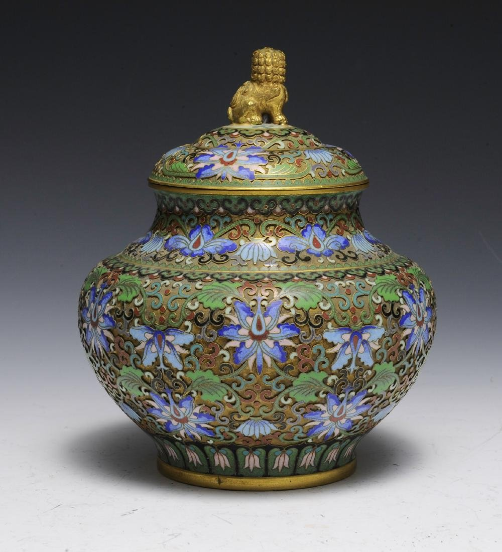 Chinese Cloisonne Jar with Lid, 1950s - 3
