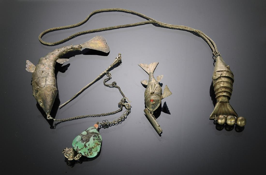Chinese Silver Fish Necklace w/ 3 Pendants, Republic