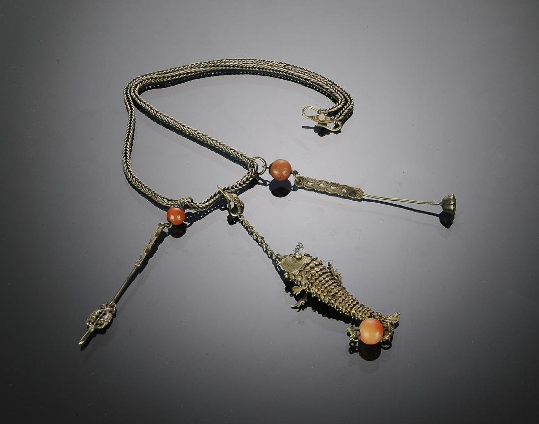 Chinese Silver Necklace w/ Fish Pendant, Republic