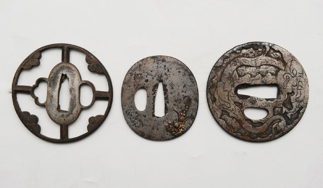 3 Japanese Metal Sword Guards
