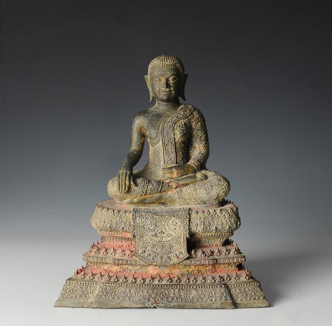 Seated Bronze Buddha in Bhumisparsha