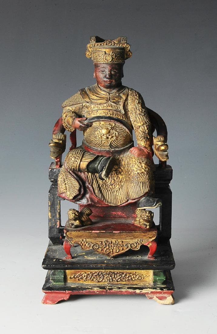 Chinese Seated Emperor Figurine, 19th C