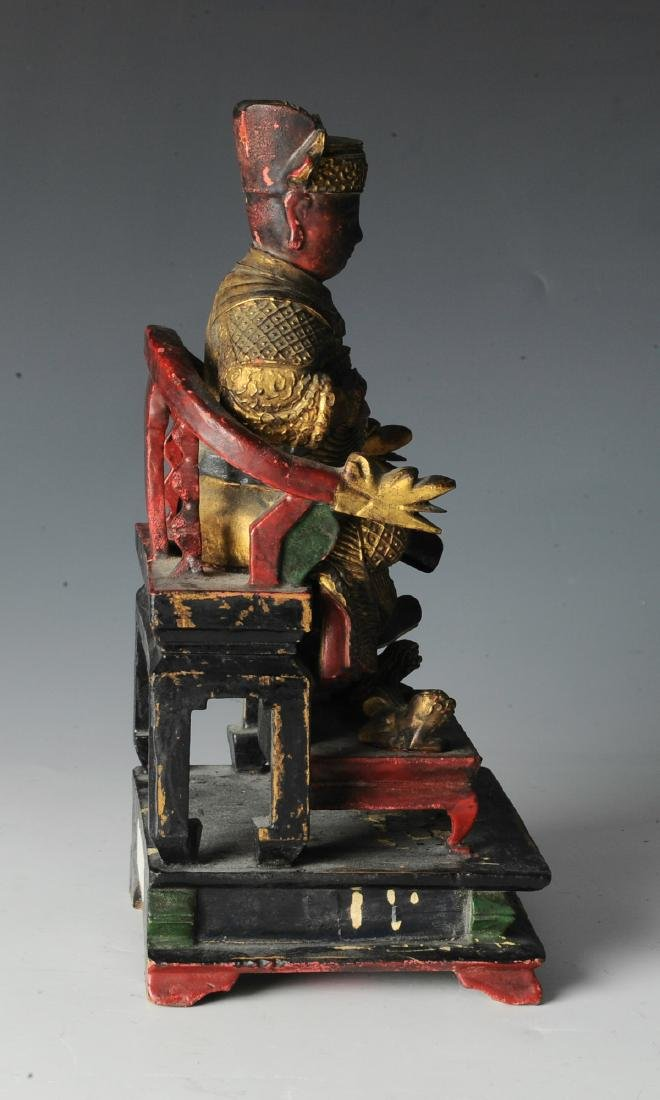 Chinese Seated Emperor Figurine, 19th C - 2