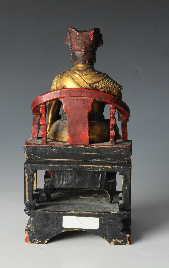 Chinese Seated Emperor Figurine, 19th C - 3