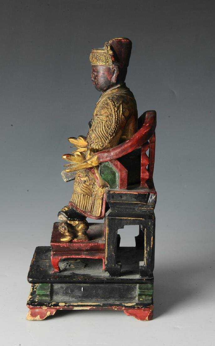 Chinese Seated Emperor Figurine, 19th C - 4