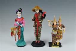Group of 3 Dolls, Thai & Taiwan
