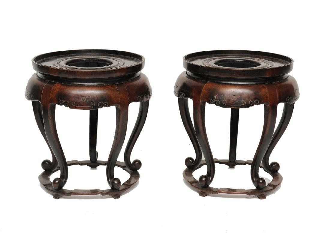 2 Large Chinese Wood Vase Stands, Late 19th C