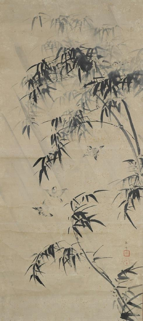 Japanese Ink on Paper Painting of Birds