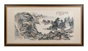 Large Chinese Landscape Painting by Zhou Cheng