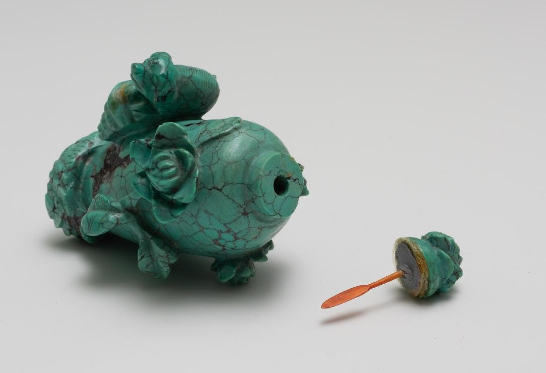 Chinese Carved Turquoise Snuff Bottle - 6