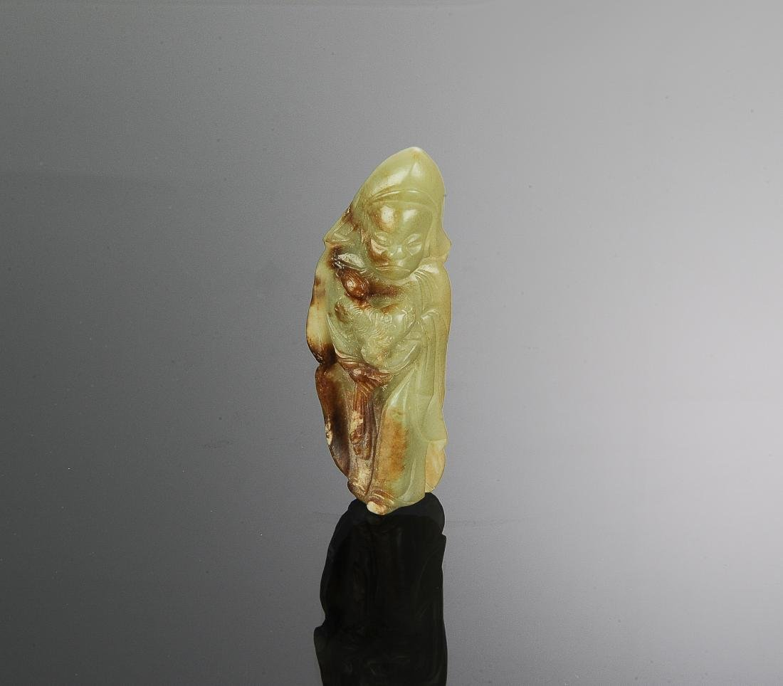 Chinese Celadon Jade Carved Figure, 17-18th Century