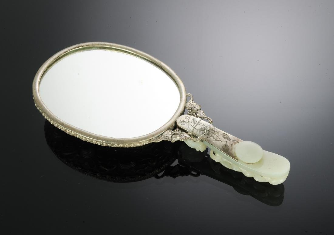 Chinese Mirror w/ Jade Plaque & Dragon Hook 19th - 3