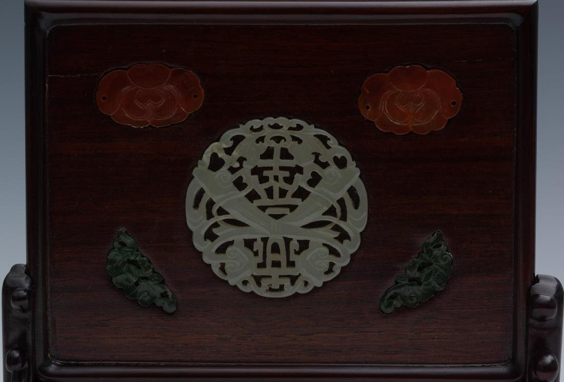 Chinese Table Screen w/ Jade Plaques, 19th-20th Century - 2