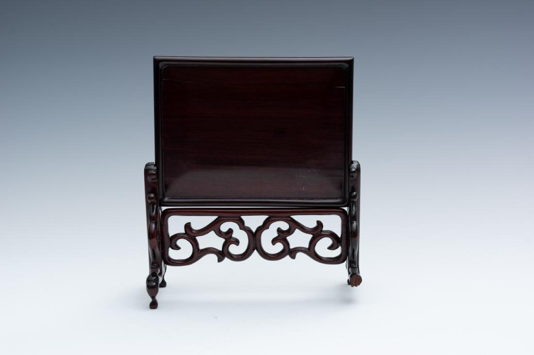 Chinese Table Screen w/ Jade Plaques, 19th-20th Century - 4