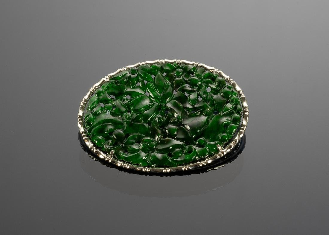 Chinese Jadeite Brooch GIA Certified, 19th Century