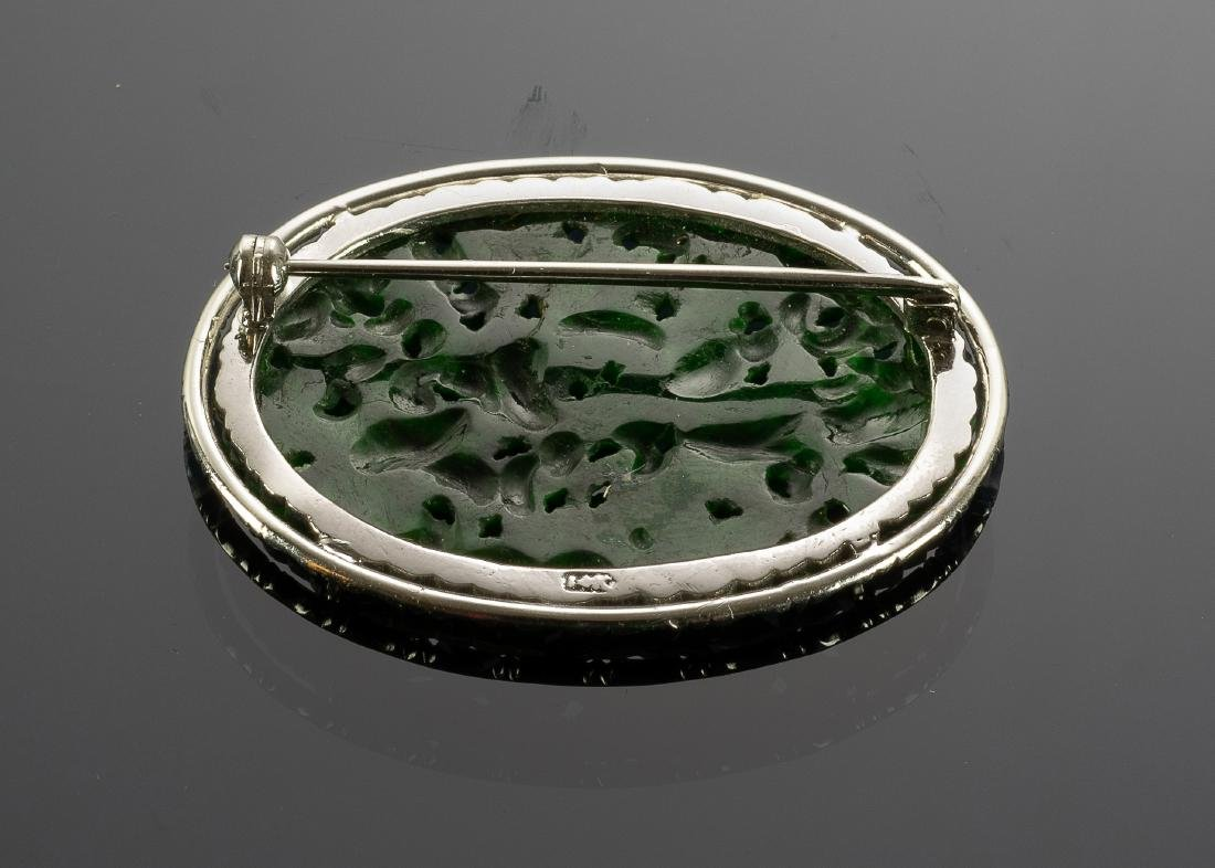 Chinese Jadeite Brooch GIA Certified, 19th Century - 2