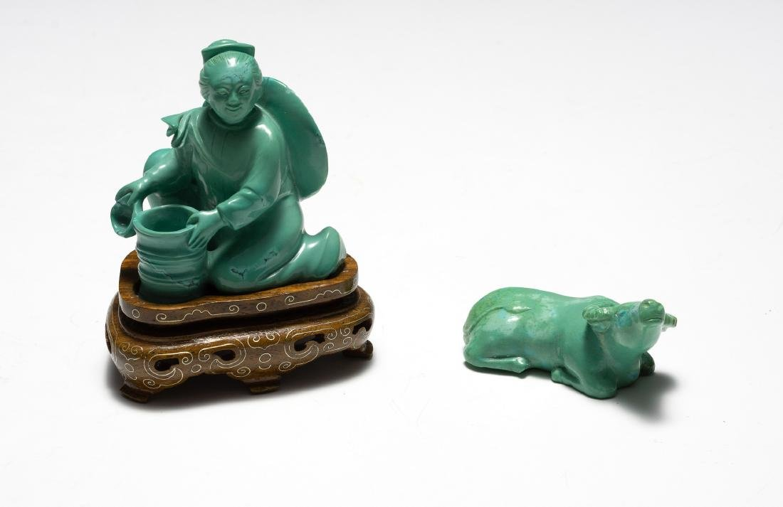 Chinese Turquoise Carved Girl & Buffalo, 1950s