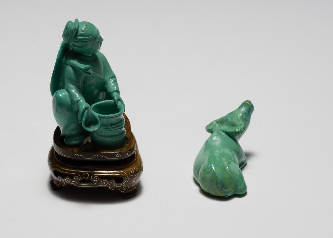 Chinese Turquoise Carved Girl & Buffalo, 1950s - 2