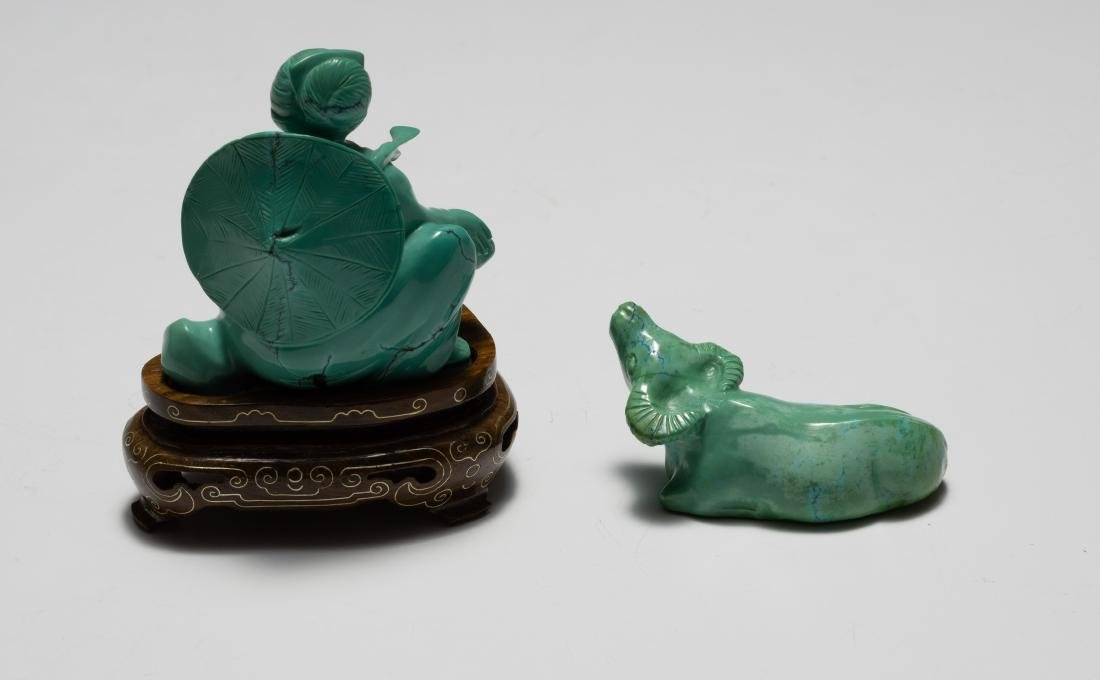 Chinese Turquoise Carved Girl & Buffalo, 1950s - 3