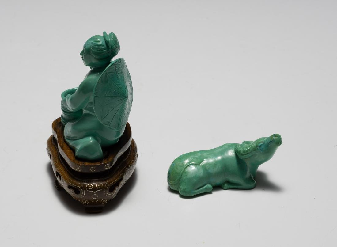 Chinese Turquoise Carved Girl & Buffalo, 1950s - 4