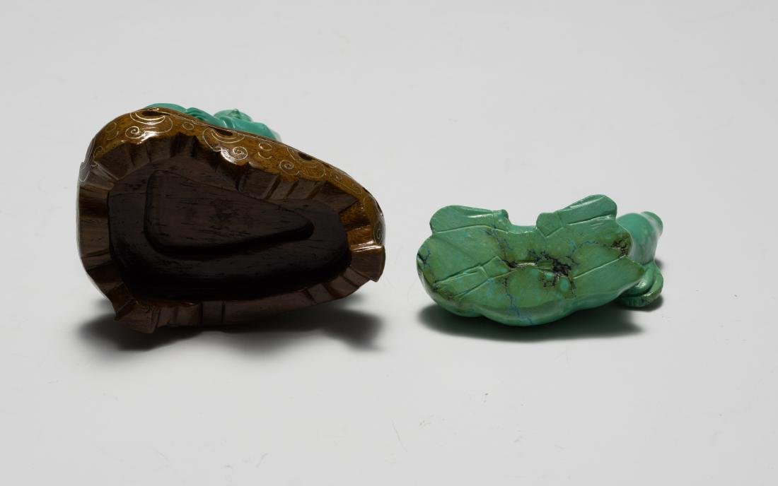 Chinese Turquoise Carved Girl & Buffalo, 1950s - 5