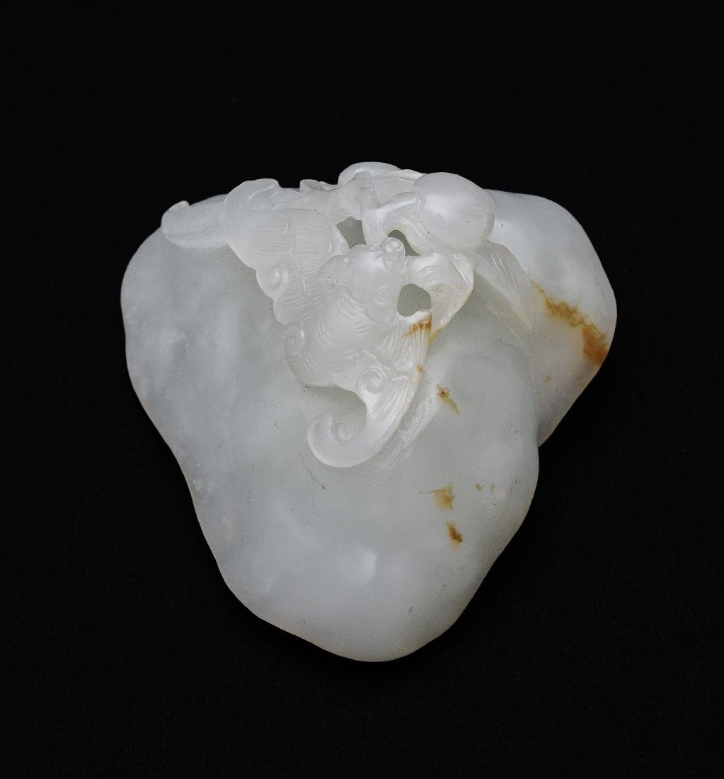 Chinese White Jade Carving of Lingzhi, 18th Century