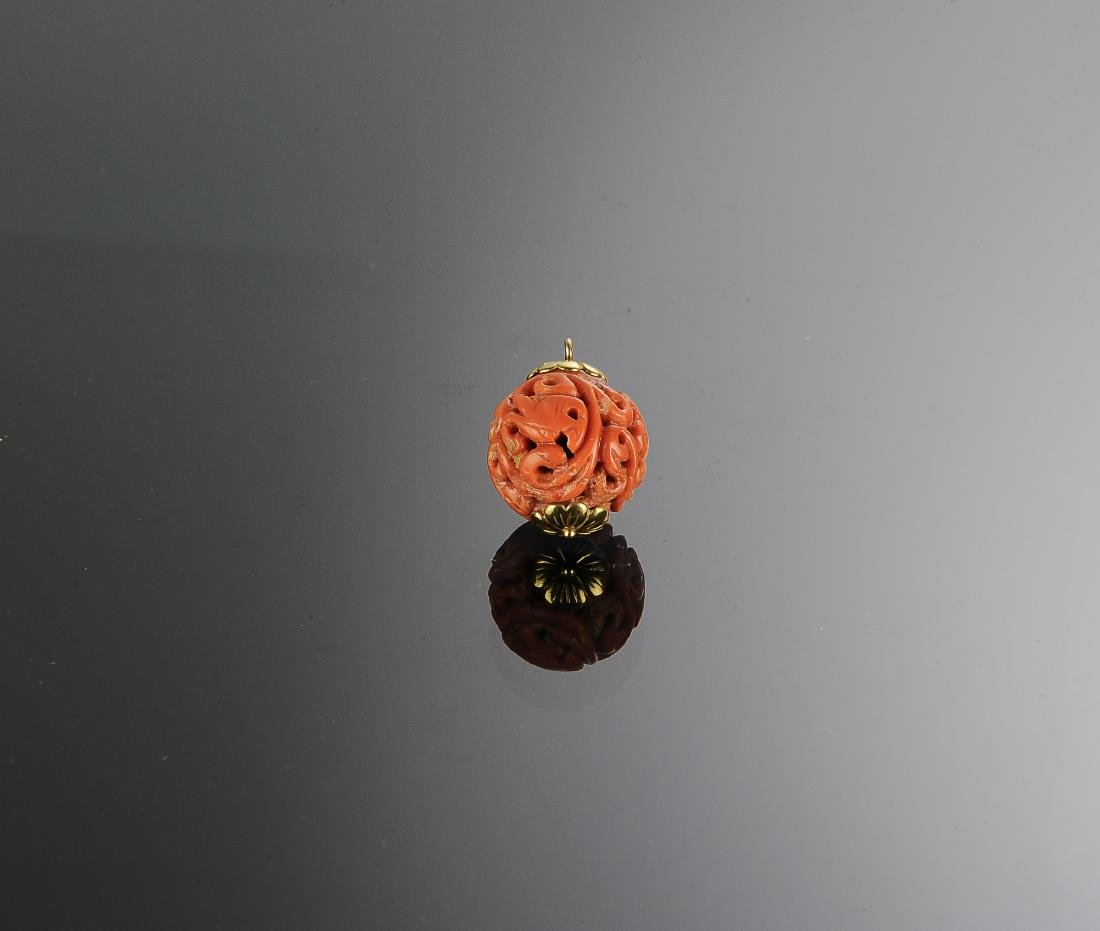 Chinese Carved Coral Bead, 19th Century