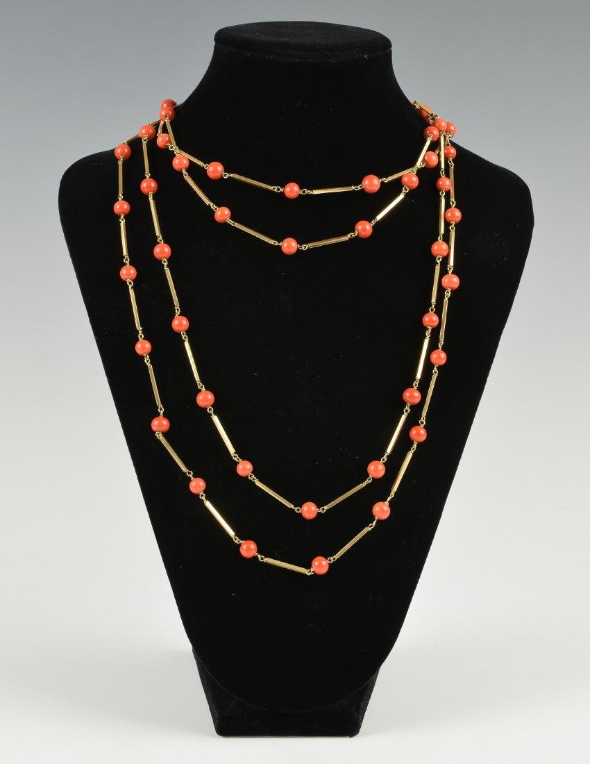 Chinese Coral Necklace w/ 14K Gold, 19th-20th Century