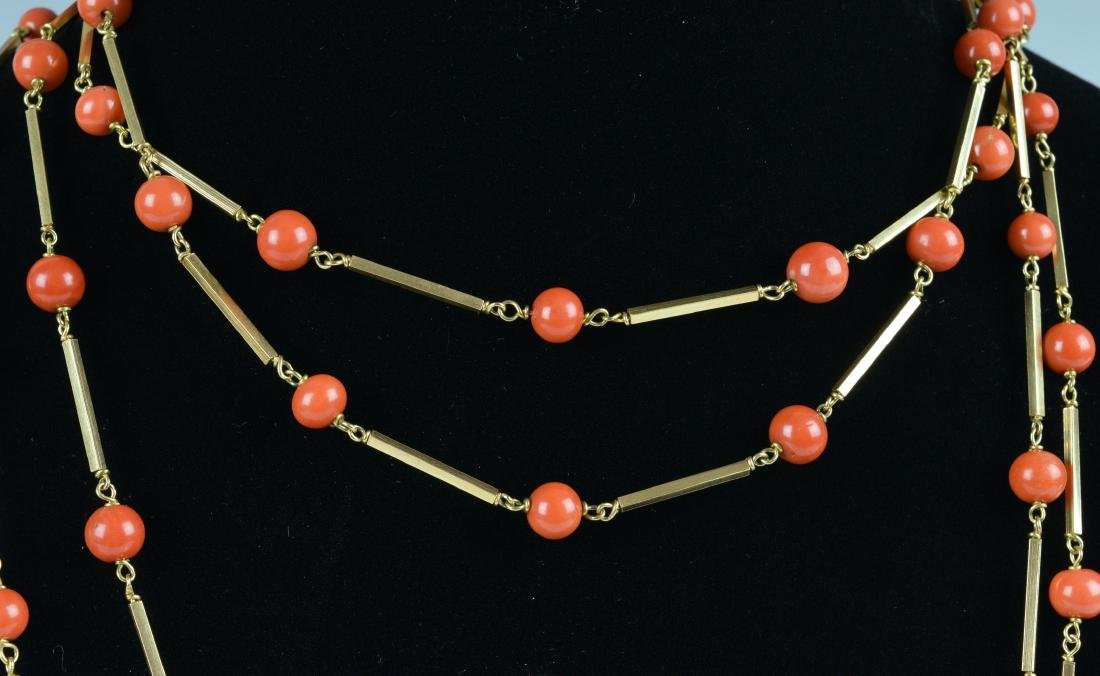 Chinese Coral Necklace w/ 14K Gold, 19th-20th Century - 2