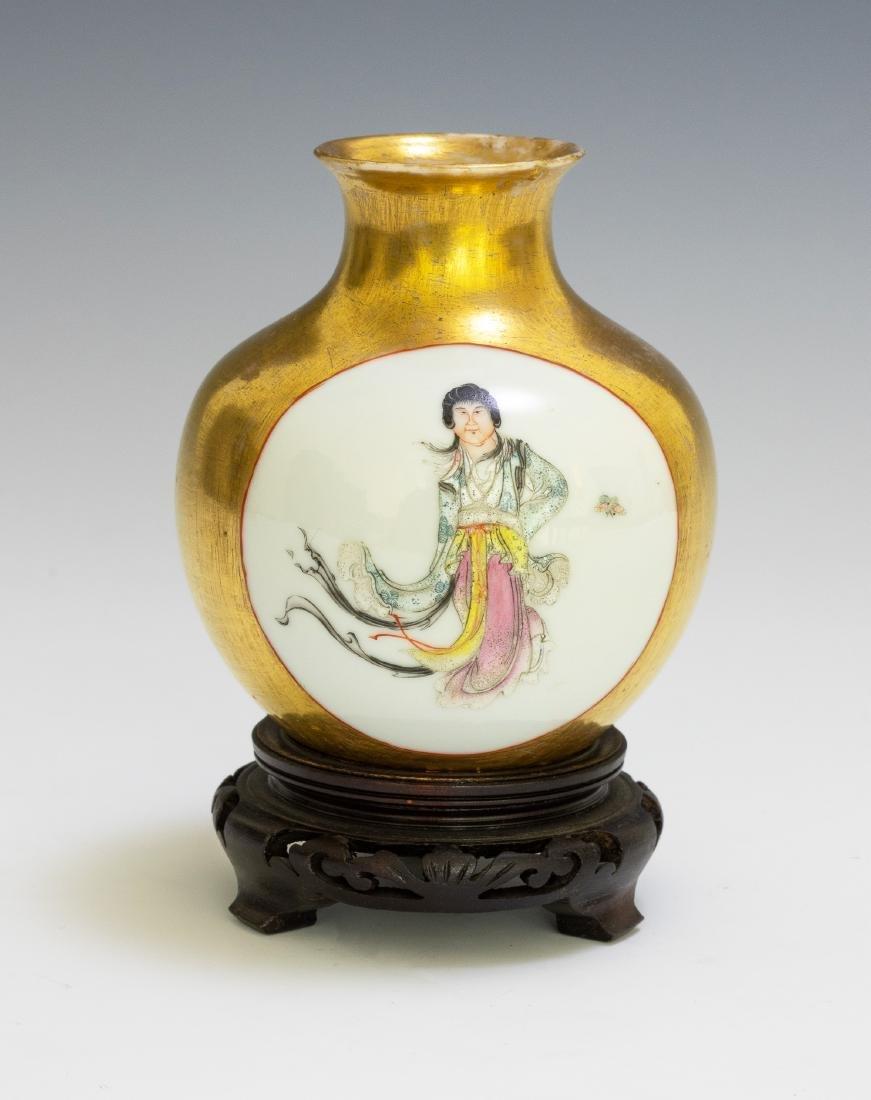 Chinese Vase w/ Gold Glaze Ground, Republic