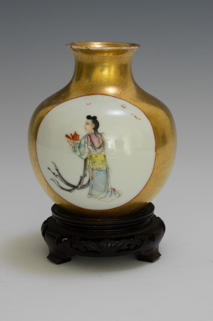 Chinese Vase w/ Gold Glaze Ground, Republic - 4