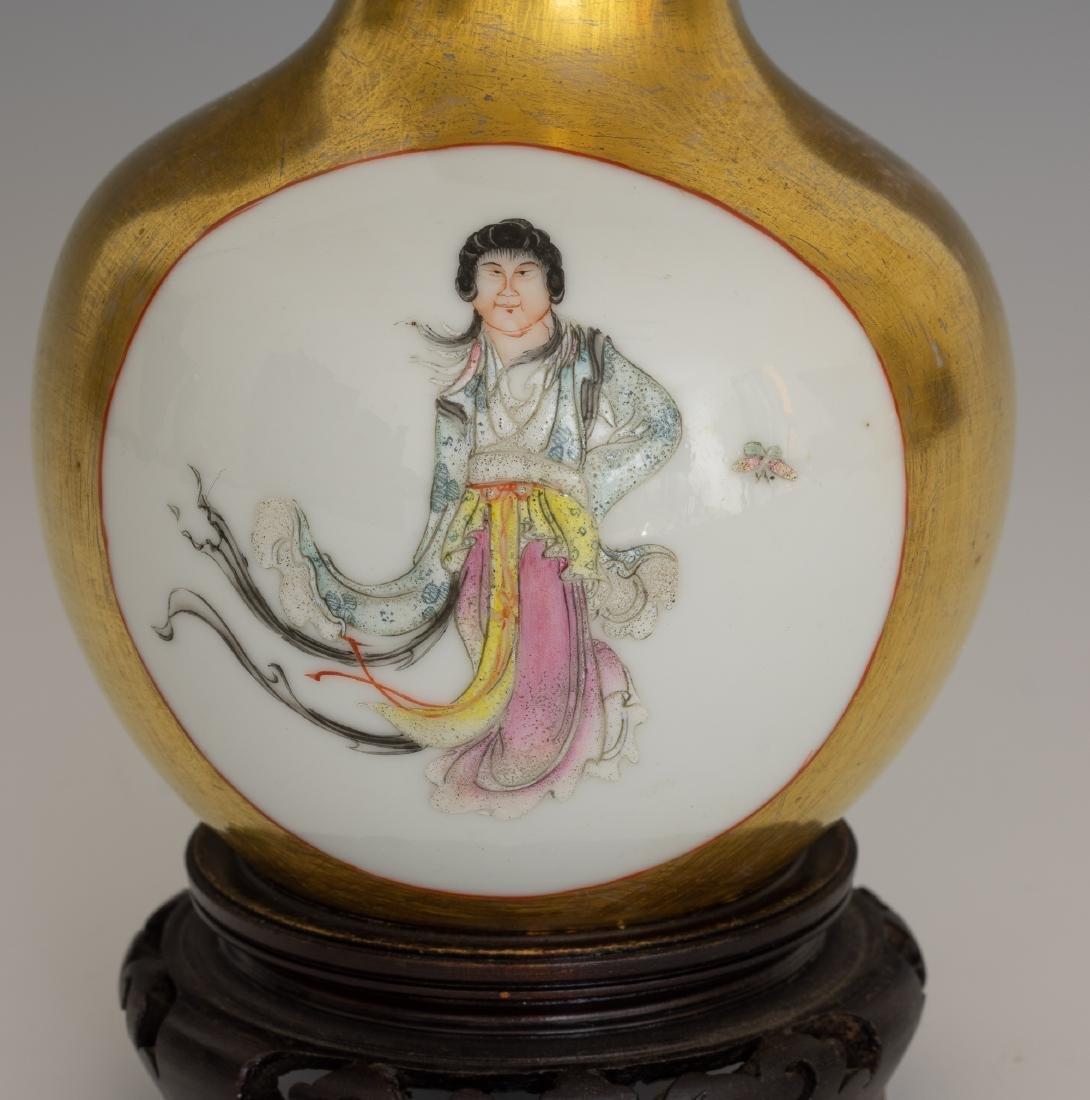 Chinese Vase w/ Gold Glaze Ground, Republic - 6