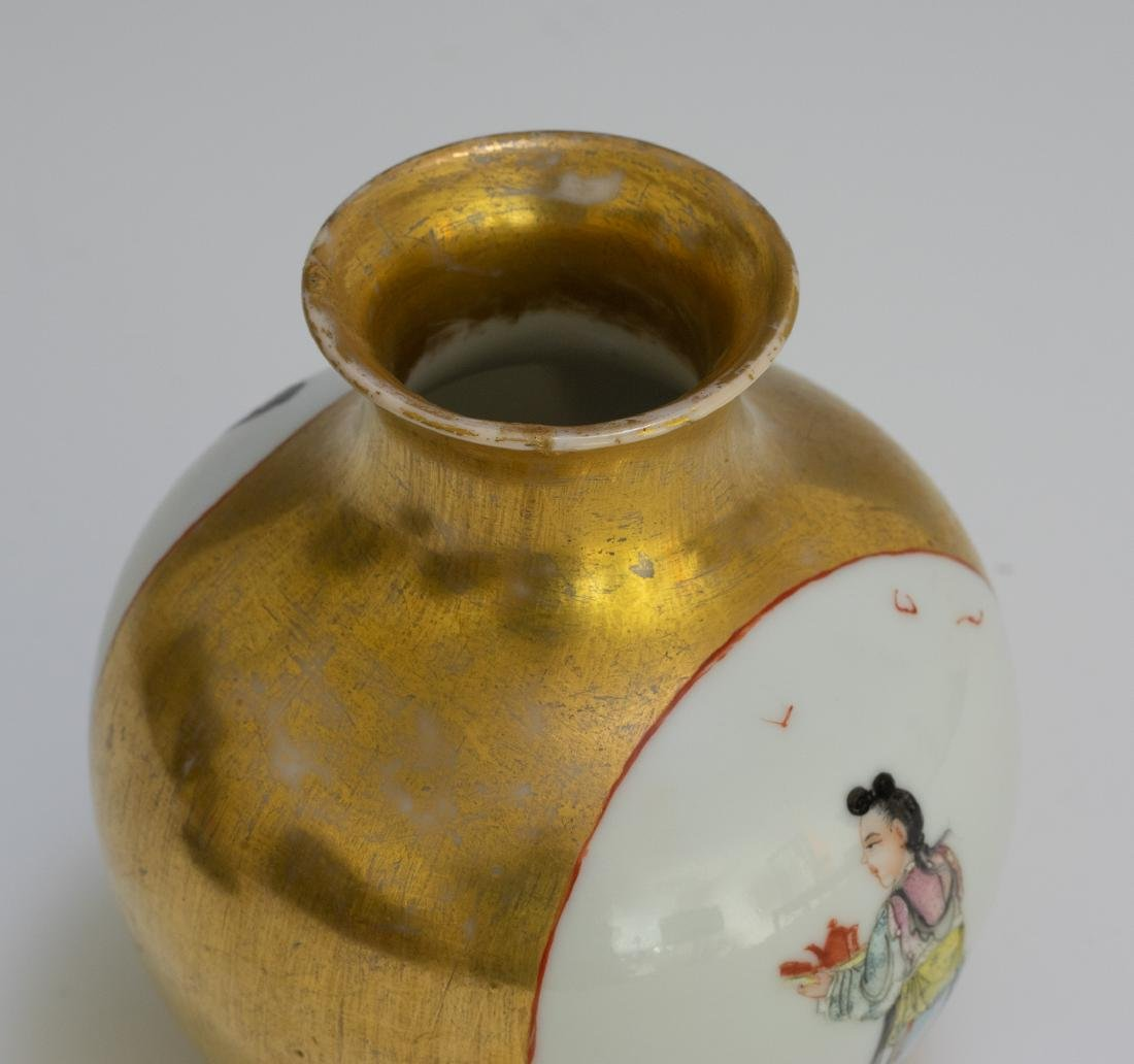 Chinese Vase w/ Gold Glaze Ground, Republic - 9