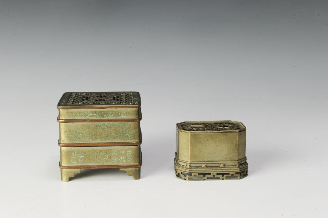 Set of 2 Bronze Incense Burners, 19th Century - 3